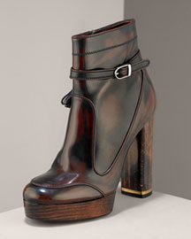 Stella McCartney Buckled Leather Bootie -  Bergdorf Goodman :  platform eco faux leather eco friendly
