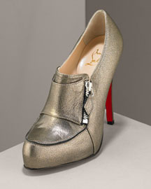Christian Louboutin Lapono Metallic Leather Bootie -  Christian Louboutin -  Bergdorf Goodman :  boot christian heels shoes