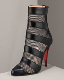 Christian Louboutin            Striped Ankle Boot -   		Christian Louboutin - 	Bergdorf Goodman :  ankle boot patent leather leather underlay tonal fishnet stripes