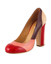Miu Miu Multicolor Oxford Pump -  Bergdorf Goodman :  pink daytime multicolor oxford