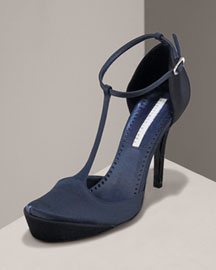 Stella McCartney Satin T-Strap Sandal- Bergdorf Goodman :  sandal t-strap mccartney strap