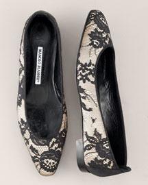 Manolo Blahnik Lace Ballerina Flat- Shoes- Bergdorf Goodman :  lace manolo blahnik flat satin