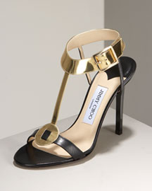 Jimmy Choo Metallic T-Strap Heel -  Jimmy Choo -  Bergdorf Goodman :  jimmy choo womens shoes chloe goodman