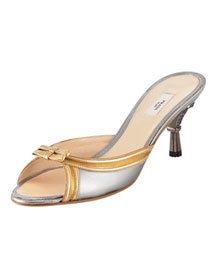 Prada Jeweled-Heel Metallic Silde -  Evening -  Bergdorf Goodman :  designer shoes shoes accessories metallic