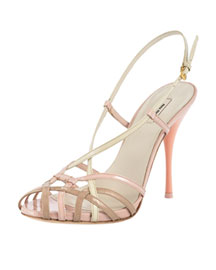 Miu Miu Patent Birdcage Sandal -  Shoes -  Bergdorf Goodman :  luxe bergdorf goodman womens shoes
