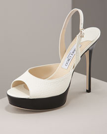 Jimmy Choo Peep-Toe Slingback -  Color Block Accessories -  Bergdorf Goodman :  designer accessories gold bergdorf goodman