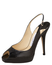 Jimmy Choo Open-Toe Snake Slingback -  Shoes -  Bergdorf Goodman :  black peep toe pumps peep toe pumps pumps black peep toe slingbacks