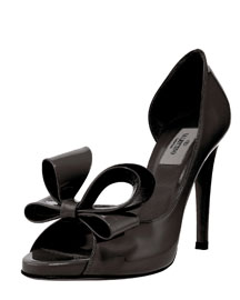 Valentino Bow Peep-Toe Pump -  Shoes -  Bergdorf Goodman :  side bow duffle patent expensive valentino
