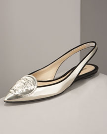 Versace Mirrored Leather Flat -  Shoes -  Bergdorf Goodman