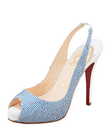 Christian Louboutin Wrinkled Seersucker Slingback -  Accessories  -  Bergdorf Goodman :  elegant designs sandals incircle evening
