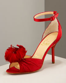 Christian Louboutin Feather Ankle-Wrap d'Orsay -  Shoes -  Bergdorf Goodman :  peep satin shoes accessories