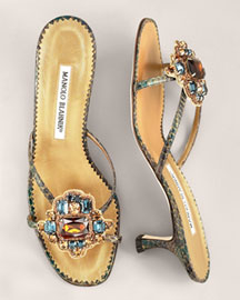 Manolo Blahnik Snake-Print Slide -  Accessories  -  Bergdorf Goodman