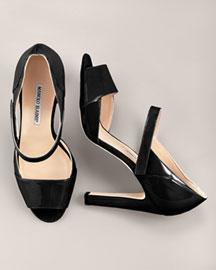 Manolo Blahnik Open-Toe Mary Jane, Black- Pumps- Bergdorf Goodman