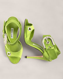 Manolo Blahnik Satin Buckled Sandal -  Shoes & Handbags -  Bergdorf Goodman :  manolo sandal buckled blahnik