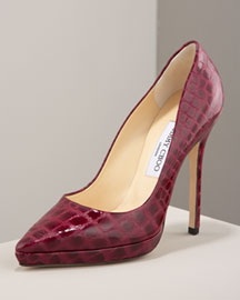 Jimmy Choo Croc-Stamped Pump -  Shoes -  Bergdorf Goodman