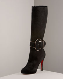 Christian Louboutin Trotte Buckled Suede Boot -  Fashion Collection -  Bergdorf Goodman :  christian louboutin womens shoes boots