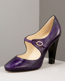 Jimmy Choo Round-Toe Mary Jane -  Pumps -  Bergdorf Goodman :  shoes purple pumps purple mary janes pumps