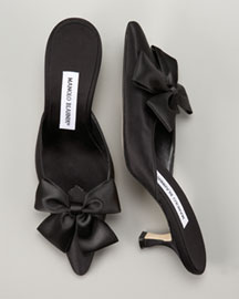 Manolo Blahnik Satin Slide -  Pre-Fall Collection -  Bergdorf Goodman