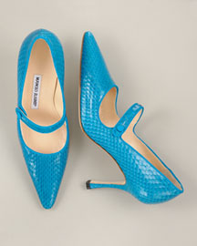 Manolo Blahnik Snakeskin Pointed-Toe Mary Jane -  Strictly Society -  Bergdorf Goodman