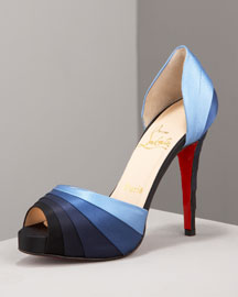 Christian Louboutin            Armadillo Striped Satin d'Orsay -   		Fashion Collection - 	Bergdorf Goodman :  blue designer louboutin satin