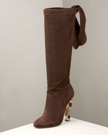 Jimmy Choo Suede Modrian Tall Tie Boot -  Shoes -  Bergdorf Goodman