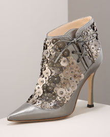Manolo Blahnik Metal Circle Bootie -  Shoes -  Bergdorf Goodman  :  shoes manolo blahnik heels bergdorf goodman