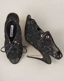 Manolo Blahnik Lace Bootie- Booties - Bergdorf Goodman