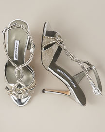Manolo Blahnik Crystal & Chain Sandal -  Shoes -  Bergdorf Goodman