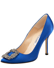 Manolo Blahnik Something Blue Satin Pump -  Shoes & Handbags  -  Bergdorf Goodman :  blue manolo manolo blahnik pump