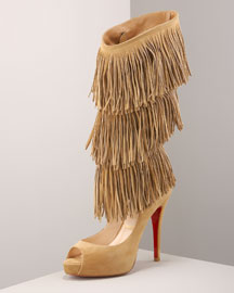 Christian Louboutin Fringe Cutout Boot -  Fashion Collection -  Bergdorf Goodman :  fringe trend long boots designer platforms