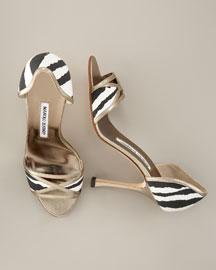 Manolo Blahnik Zebra-Print d'Orsay- Shoes- Bergdorf Goodman
