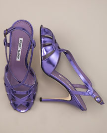 Manolo Blahnik Metallic Sandal -  Shoes -  Bergdorf Goodman  :  manolo blahnik sandals