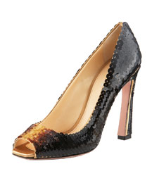 Prada Sequined Peep-Toe Pump -  Resort Collection -  Bergdorf Goodman :  high heels collection designer bergdorf goodman