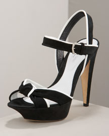 Sergio Rossi Knotted Platform Sandal -  Black & White -  Bergdorf Goodman