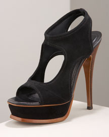 Yves Saint Laurent Cutout Platform -  Bergdorf Goodman :  stilleto platform boot with elastic browns stretch suede ysl