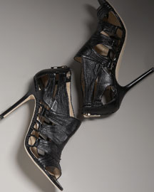 Jimmy Choo Cutout Shoe Bootie -  Glam Rocker -  Bergdorf Goodman :  black nappa leather and snakeskin jimmy choo bergdorf goodman shoe