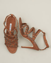 Manolo Blahnik Studded Strappy Sandal -  Shoes -  Bergdorf Goodman