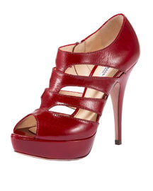 Prada Cut-out Shoe Bootie (Red)