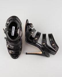 Manolo Blahnik Snakeskin Button Sandal