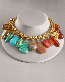 Stephen Dweck Multi-Stone Charm Necklace -  For Her -  Bergdorf Goodman :  necklace coral carnelian bronze chain