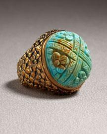 Stephen Dweck Carved Turquoise Ring- Rings- Bergdorf Goodman