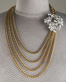 JANIS BY JANIS SAVITT            Brass & Crystal Necklace, Long -   		Necklaces - 	Bergdorf Goodman :  janis savitt janis by janis savitt chains accessories