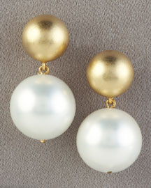 Gold Ball & Pearl Earrings -  Bergdorf Goodman