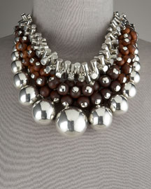 Triple-Row Necklace -                                 Bergdorf Goodman :  necklace spheres silver wood