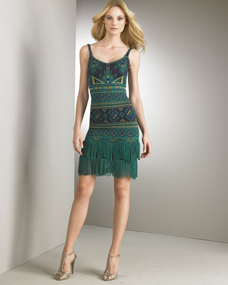 Zac Posen - Designer Collections  -  Bergdorf Goodman :  tribal indigo v-neck green