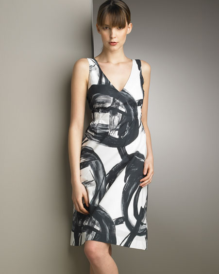 Vince Swirl-Print Dress :  fashion black and white clothing womens