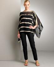 Sandra Bold Stripe Poncho & Annie Straight Pant- Bergdorf Goodman
