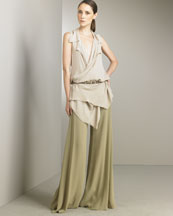 Wrap Tunic & Wide-Leg Palazzo Pants -  Bergdorf Goodman :  wrap shirt sleeveless donna karan