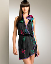 Floral Motif Silk Dress -  Bergdorf Goodman
