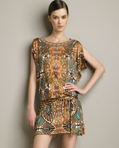 Leaf-Print Tunic Dress -  Bergdorf Goodman :  italy viscose leaf multicolor